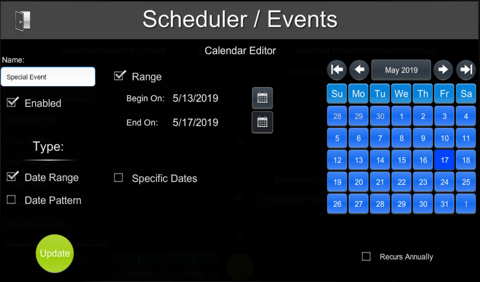 Scheduling | ShowRunner | Crestron Programming