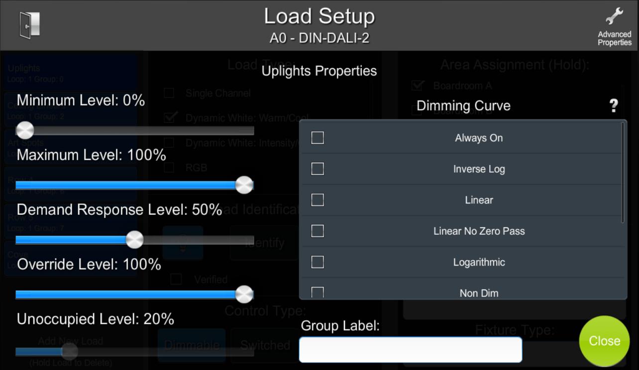 Configuring Load Properties | ShowRunner | Crestron Programming
